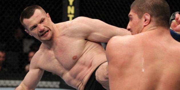 NEWARK, NJ - MARCH 19: (L-R) Mirko Crocop kicks Brendan Schaub during their heavyweight bout at UFC 128...
