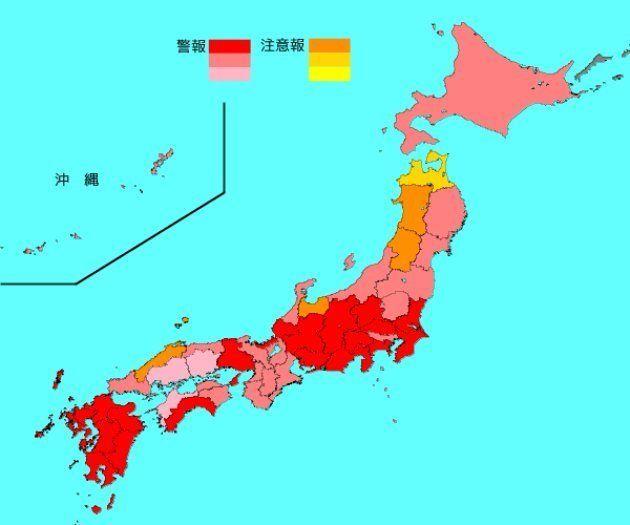 インフルエンザ流行レベルマップ(2019年1月7〜13日)