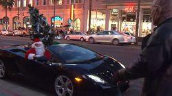 【動画】LAのサンタクロースはランボルギーニに乗ってやってくる!