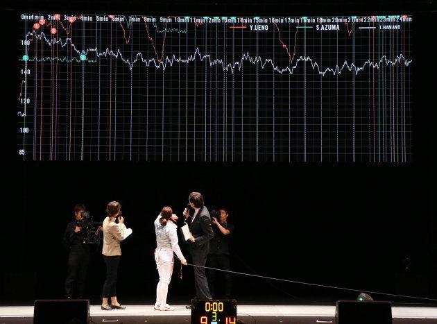 モニターに映された心拍数のデータを見る東晟良(日体大)=2018年12月9日、東京都新宿区の東京グローブ座