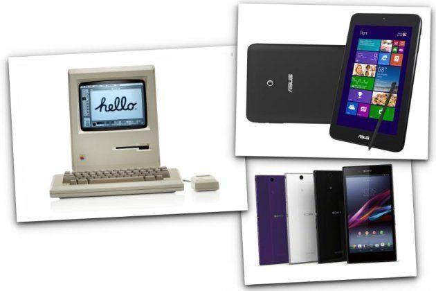 左から時計回り:アップル「Macintosh」、ASUS「VivoTab Note 8」、ソニー「Xperia Z