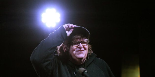 Michael Moore speaks at a protest against U.S. President-elect Donald Trump outside the Trump International...