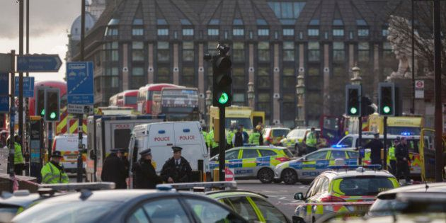 Scenes on Westminster Bridge after four people were killed (including the attacker) and 20 injured during...
