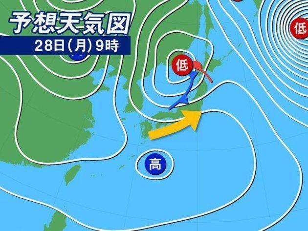 天気予想図 28日(月)9時