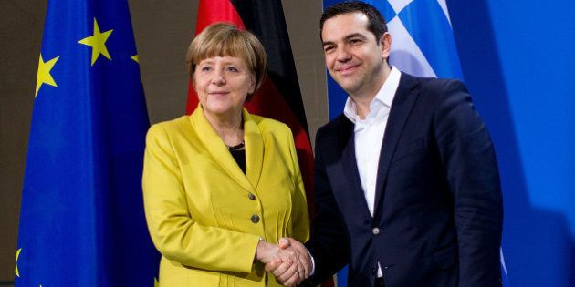 BERLIN, GERMANY - MARCH 23: German Chancellor Angela Merkel and Greek Prime Minister Alexis Tsipras depart...