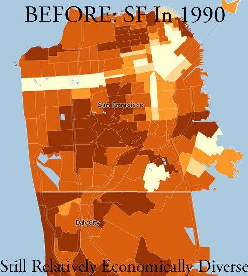 アメリカ2都市が「金持ち専用」になったことがわかる地図
