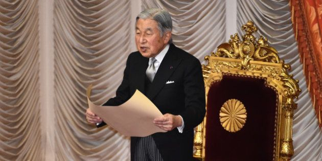 Japanese Emperor Akihito delivers a speech during the opening ceremony of a 150-day ordinary Diet session...