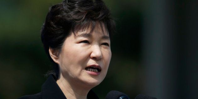 South Korean President Park Geun-hye delivers a speech during a ceremony marking Memorial Day at the...