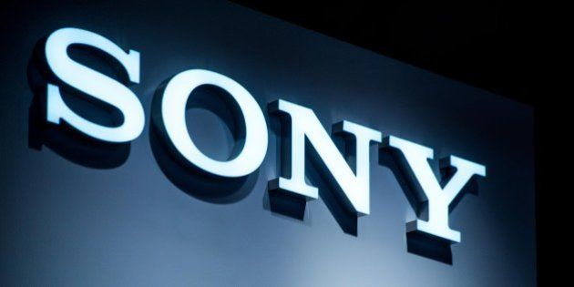 BARCELONA, SPAIN - MARCH 03: A logo sits illuminated outside the Sony pavilion during the second day...
