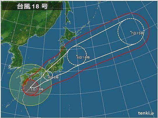 【台風情報】台風18号上陸の恐れ