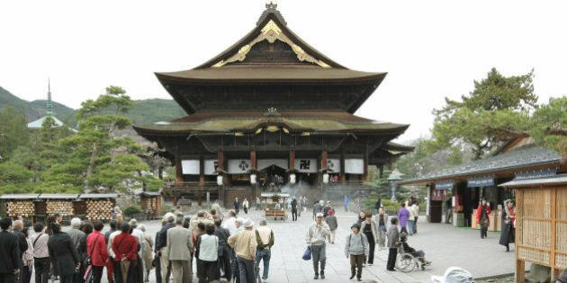 People visit Japan's Buddhist Zenkoji temple in Nagano, central Japan on April 18, 2008. The Zenkoji...