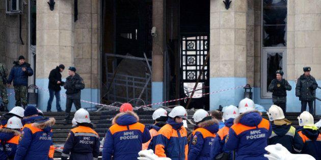 VOLGOGRAD, RUSSIA - DECEMBER 29: A general view of the scene outside Volgograd train station, where a...