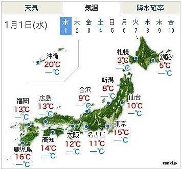 暖かい新年、東京15度(きむら貴之)