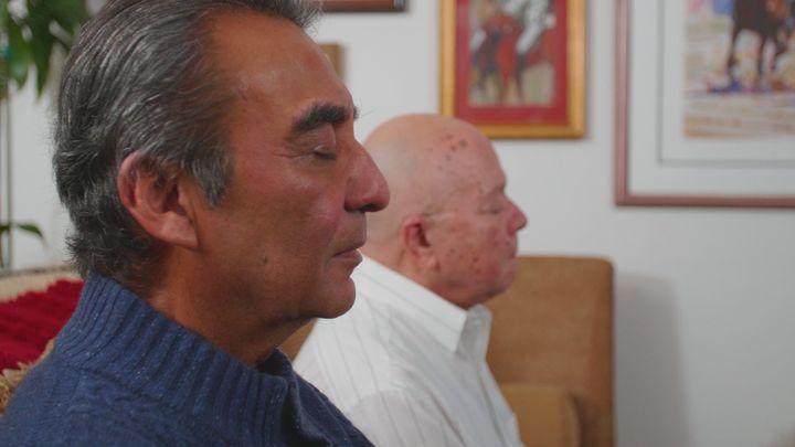Azim Khamisa, left, and Ples Felix meditate together.