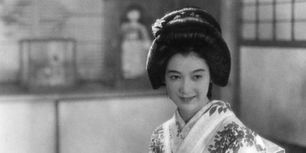 (GERMANY OUT) Setsuko Hara (nee Masae Aida)*17.06.1920-actress, Japan, dressed in a festival kimono,...