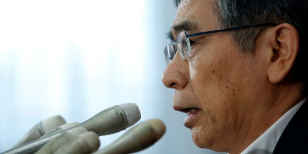 Haruhiko Kuroda, governor of the Bank of Japan (BOJ), speaks during a news conference at the central...