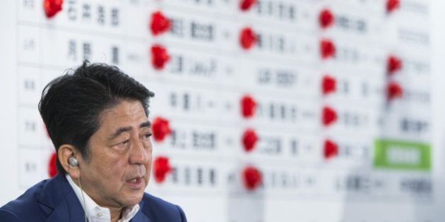 Shinzo Abe, Japan's prime minister and president of the Liberal Democratic Party (LDP), speaks to the...