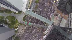 香港デモを上空からドローンで撮影すると、いかに大規模かがわかる(動画)