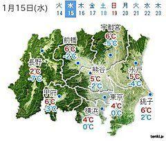 関東 15日は凍える寒さ 南部は雪の所も(戸田よしか)
