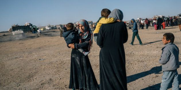 AIN ISSA, SYRIA, NOV 22: Civilians fleeing fighting between YPG/SDF and ISIS in the countryside of Raqqa...