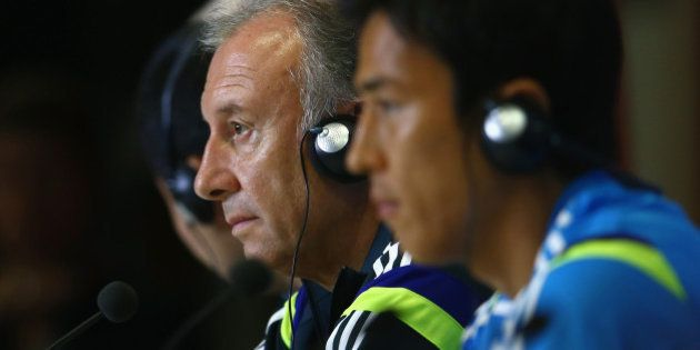 NATAL, BRAZIL - JUNE 18: Japan head coach Alberto Zaccheroni looks on as he listens to questions from...