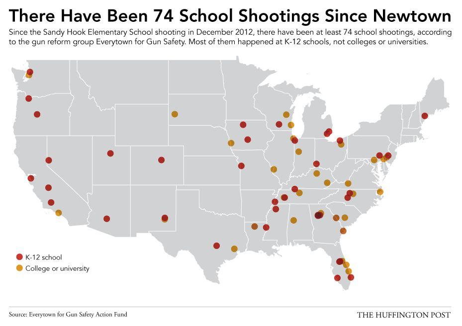 【マッピング】18カ月の間にアメリカの学校で起きた74件の銃発砲事件