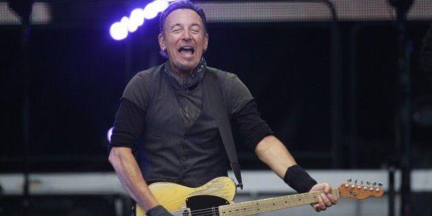 U.S. singer Bruce Springsteen performs at Croke Park stadium, Dublin, Ireland, Friday, May, 27, 2016....