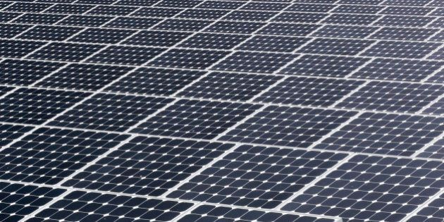 In this Wednesday, May 13, 2015 photo, some of the more than 37,000 solar panels gather sunlight at the...