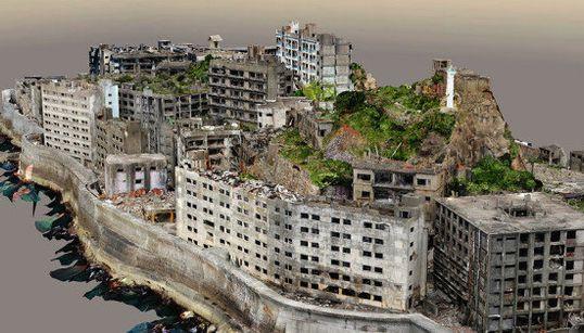 軍艦島、3Dで完全再現 2万8千枚の写真を元に立体化(動画)