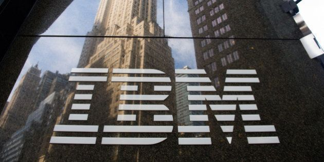 The International Business Machines Corp. (IBM) logo is displayed in front of the company's offices in...