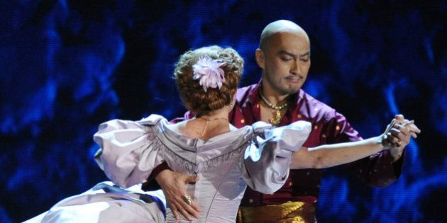 "Kelli O'Hara, left and Ken Watanabe of ""The King and I"" perform at the 69th annual Tony Awards at..."