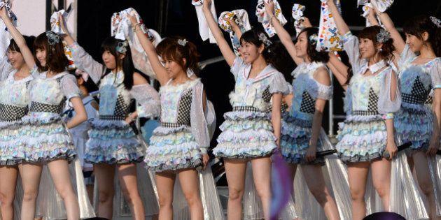 Japanese girl pop group AKB48, (L-R) Rena Matsui, Haruka Shimazaki, Rino Sashihara, Minami Takahashi,...