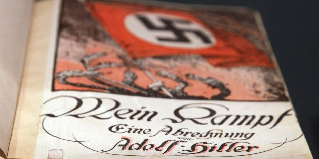 BERLIN - OCTOBER 13: The book 'Mein Kampf' (My Struggle) by Adolf Hitler is pictured during a press preview...