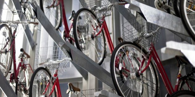 TOKYO, JAPAN - DECEMBER 03: Bicycles are stacked on top of each other inside the ECO Cycle system at...