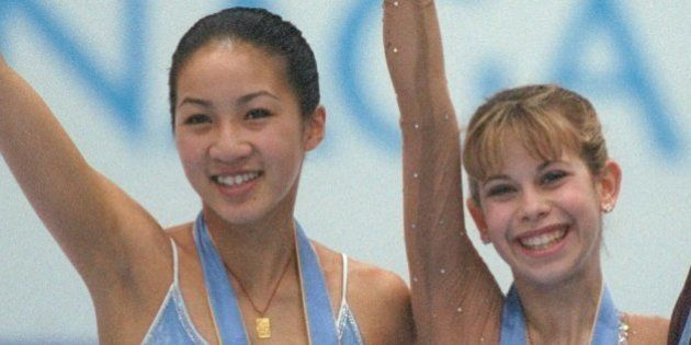 20 Feb 1998: Michelle Kwan of the USA won the silver medal, Tara Lipinski of the USA won the gold medal...