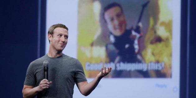 CEO Mark Zuckerberg gestures while delivering the keynote address at the Facebook F8 Developer Conference...
