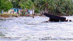 ツバルの首都が特大の大潮で冠水の危機【画像】
