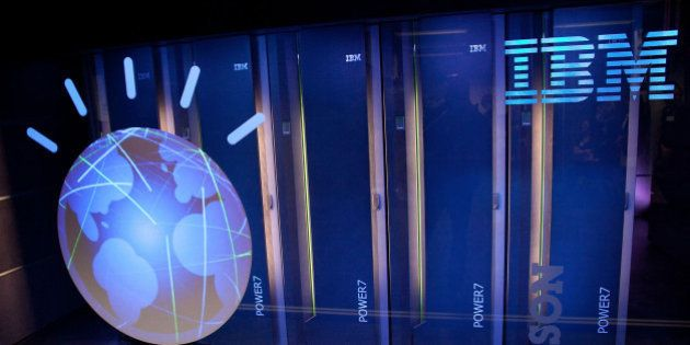 YORKTOWN HEIGHTS, NY - JANUARY 13: A general view of IBM's 'Watson' computing system at a press conference...