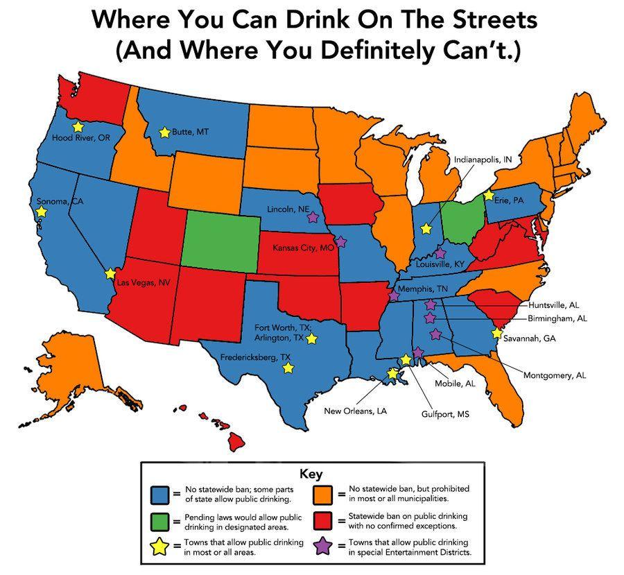 「公共の場での飲酒」が原則禁止されているアメリカ