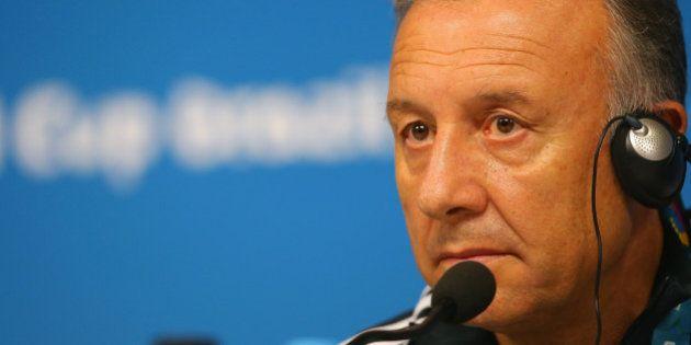 RECIFE, BRAZIL - JUNE 13: Japan head coach Alberto Zaccheroni listens to questions as he speaks to the...