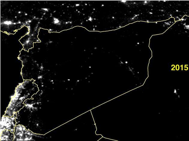 シリアから消えた灯。衛星画像は語る(比較画像)