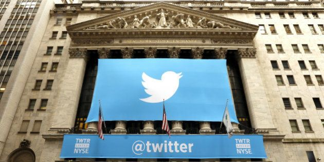 NEW YORK, UNITED STATES - NOVEMBER 7: Twitter shares have closed at $44.90 a share on its first day of...