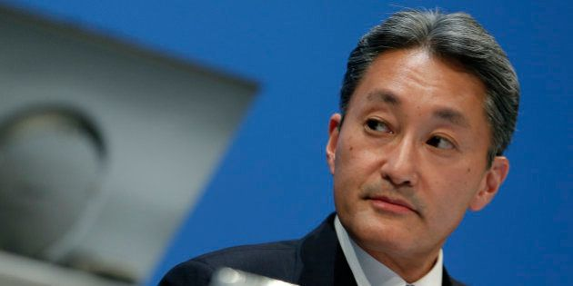 Kazuo Hirai, president and chief executive officer of Sony Corp., pauses during a news conference in...