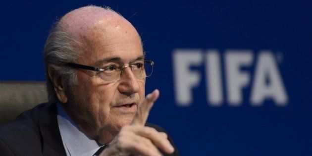 FIFA president Sepp Blatter attends a press conference on May 30, 2015 in Zurich after being re-elected...
