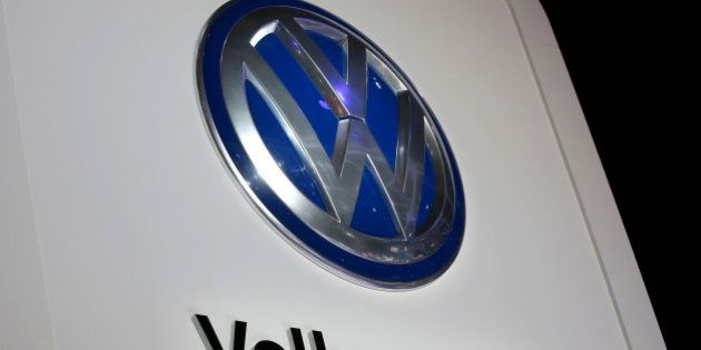 The Volkswagen logo is seen at the company's display during the North American International Auto Show...
