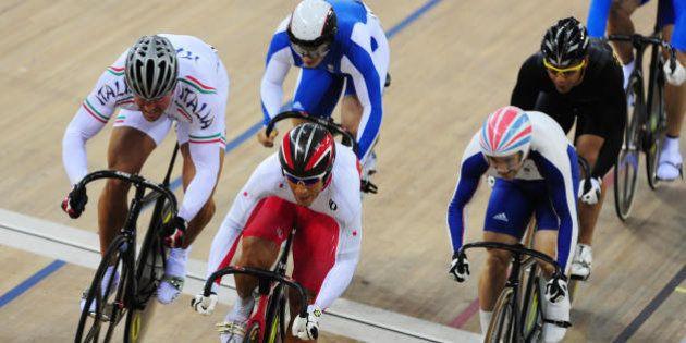 (Foreground L-R) Track cyclists Roberto Chiappa of Italy, Kiyofumi Naga of Japan and Edgar Ross of Great...