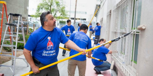 IMAGE DISTRIBUTED FOR SHERWIN-WILLIAMS - Thousands of Sherwin-Williams employees joined forces with painting...