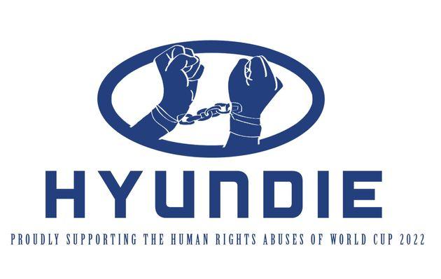 カタールワールドカップ 労働者への人権侵害に抗議するために作られた「スポンサー」ロゴ(画像)