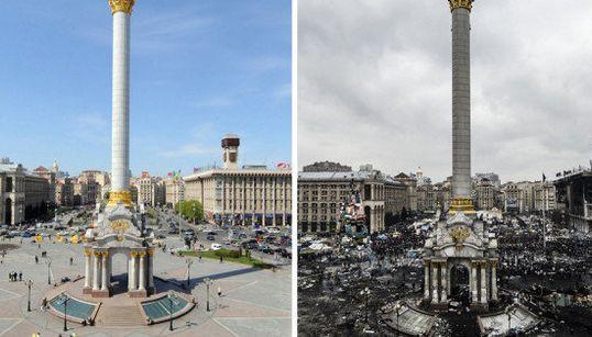 変わり果てたキエフの独立広場【ウクライナ】