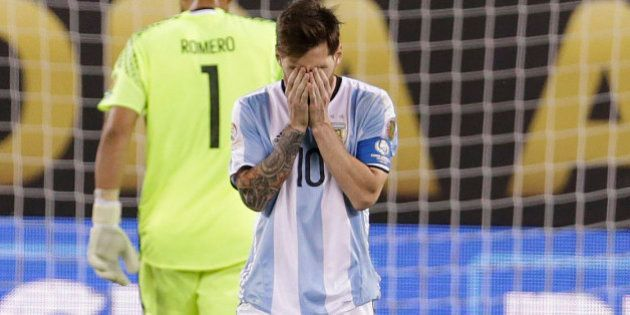 Jun 26, 2016; East Rutherford, NJ, USA; Argentina midfielder Lionel Messi (10) after missing penalty...